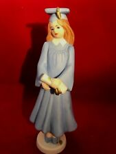 "Growing Up Girl 7.25"" Graduation Figurine (1991) Brunette Hair Color Blue Gown"