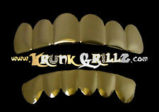 KRUNKGRILLZ TOP AND BOTTOM INSTANT GRILLZ SET YELLOW GOLD PLATED NO MOLD NEEDED