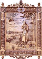 "32"" Kiot St. Simeon of Verkhoturye 3D Art Orthodox Wood Carved Icon large"