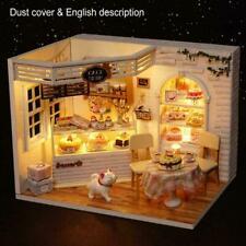 Dollhouse Miniature Furniture Diy Kit Wood Toy Cake House lights Cottage W/ P2B3