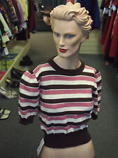 Womans Ladies 1950s Dark Brown Pink Cream Jumper Rockin Rockabilly RnR Jive