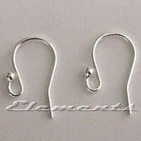 Solid Sterling .925 Silver Earring Ear Wires Fish Hooks French Fittings SF101