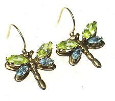 COLORFUL DRAGONFLY 14K Yellow Gold Pierced Dangle Earrings W/ Gemstones N112-N