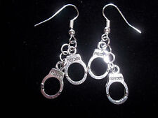 CUTE Tibetan SILVER Hand Crafted HAND CUFF  Dangle EARRINGS K-97