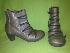 Brown Camper Zip-Up Ankle Boots with Elastic Zig-Zag detail 6.5 37