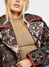 Free People Moto Jacket black Tapestry Velvet Feel Labyrinth Coat L NEW