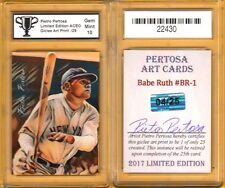 BABE RUTH  Pietro Pertosa ACEO Giclee Art Card Print /25 GRADED 10 GEM MINT #P
