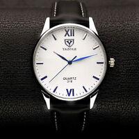 Men Fashion YAZOLE Luminous Display Leather Band Analog Quartz Wrist Watch Y318