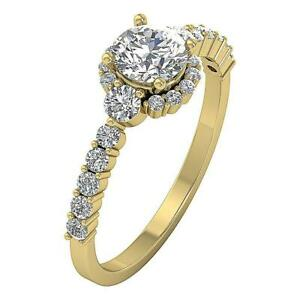 Solitaire Halo Engagement Ring Natural Diamond I1 G 1.50Ct Yellow Gold Appraisal