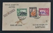 nystamps British Hong Kong Stamp Used Early FDC Cover Rare