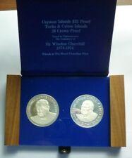 1974 Cayman / Turks & Caicos Isl. Proof Silver Set (2) - Churchill - 3 Oz -Rare