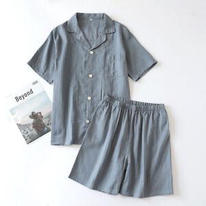 Summer Womens Short Sleeve Pyjama Set 100% Gauze Cotton Printing PJ'S Sleepwear
