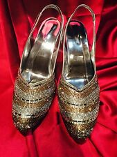 S1 Size 5 Indian Bollywood Bridal Diwali Shoes Heels Sandals Silver With Gold