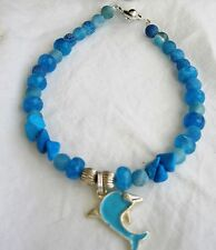 Gemstone jewellery beaded DOLPHIN bracelet; BLUE AGATE & TURQUOISE  howlite 21cm