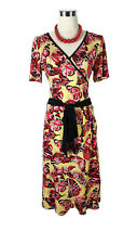 LEONA EDMISTON Dress- Butterfly Print Yellow Pink Black Vintage Wrap Belt - 1/10