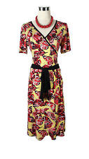 ISHKA Dress - Rainbow Paisley Print Red Vintage Puff Sleeve Boho Hippy - M/L/10