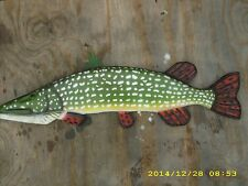 "35"" Northern Pike Custom wood carving fish Mount Decoy"