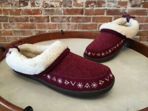 Clarks Burgundy Red Wool & Faux Shearling Slipper Mule Clogs 7 New