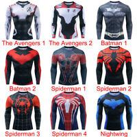 Mens Compression Base Layer Gym Top Superhero Long Sleeve Sport T-shirt