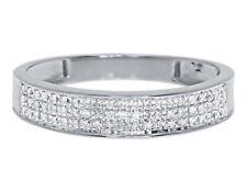 10k White Gold Mens Three Row Pave Round Diamond 4.5mm Fashion Band Ring 0.25 ct