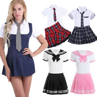 Sexy Women Schoolgirl Outfit Student Costume Uniform Fancy Dress Shirt Halloween