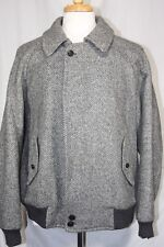 VTG Burberry English Made Tweed Herringbone Blouson Jacket Coat Sz. 42 R