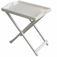 Folding White Wooden Portable Butler Breakfast Dinner Serving Tray Side Table