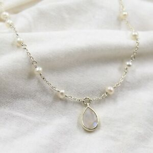 """Moonstone Pearl 16+2""""Necklace 925 Sterling Silver Handmade Jewelry Birthday Gift"""