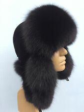Fox Fur Ushanka Hat with Suede. Saga Furs Real Genuine Fur. Aviator Trapper Hat.