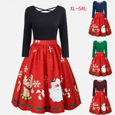 Women's Fashion Long Sleeve Plus Size Christmas Print Swing Party Dress XL - 5XL