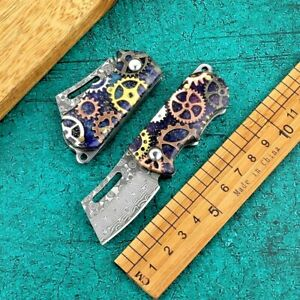 Wharncliffe Folding Knife Pocket Hunting Tactical Damascus Steel Acrylic Handle