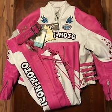 ICON MOTO BOMBSHELL GOGO LEATHER MOTORCYCLE JACKET & CHAPS PINK SEXY RIDING SUIT