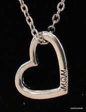 Mom Heart Silver Necklace Love Engraved Great Gift Mothers Day