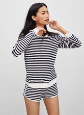 Aritzia TNA Franconia White Navy Blue Stripe Cotton Terry Sweater Top, Size XS
