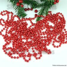 24ft Red Hanging Bead Garland Christmas Tree Xmas Party Tinsel String Chain
