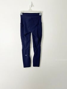 LULULEMON Lead The Pack Cropped Midnight Navy Leggings Size 2