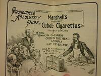 Vintage 1905 Almanac and Pocket Compendium Marshall's Cubet Cigarettes