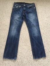 Woman's True Religion Jeans SZ 31x31 Dark Wash Distressed Straight Leg Flap Pock