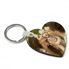 Personalised Two Photo Heart Key Ring Double Sided Any Image £3.99 Free  Postage
