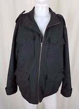 The Gap Wool Military Field Jacket Peacoat Cargo Coat Mens XL Charcoal Epaulets
