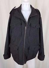 The Gap Wool Military Field Jacket Peacoat Cargo Coat Mens XL Charcoal Epaulets