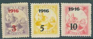 Liberia 1916, complete set of three 1916 overprints, $$ #157-9