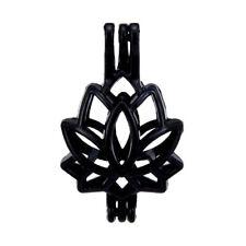 5pcs/lot Black Lotus Flower Locket Diffuser Pendant Pearl Beads Cage Charms H52