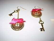 BNWT - 100% Genuine - Betsey Johnson - Button Up Drop Dangle Earrings - Stamped