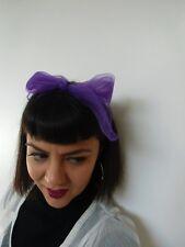 Foulard cheveux fin tulle mousseline transparente carré violet coiffure pinup