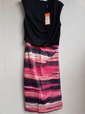 Karen Millen Sleeveless Black/Multi Lined Dress Size 12 RRP £160.00