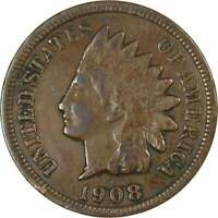 1908 S 1c Indian Head Cent Penny Coin F Fine