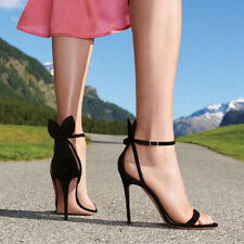 Womens Faux Suede Black Bow Knot Ankle Strap Stilettos High Heels Clubwear Shoes