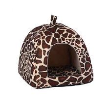 Soft Leopard  Pet Igloo Dog Cat Bed House Kennel Doggy Fashion Cushion Basket