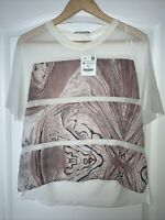 Zara White Pink Lilac Paisley Print Blouse Top Mesh Sleeve Detail Size S, M BNWT